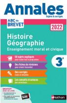 Annales brevet 2022- histoire geographie enseignement moral et civique - corrige