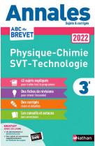 Annales brevet 2022- physique chimie - svt - techno - corrige