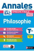 Annales bac 2022 philosophie - corrige