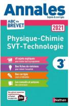Annales brevet 2021 - physique chimie - svt - techno - corrige