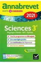 Annales du brevet annabrevet 2021 physique-chimie, svt, technologie 3e - sujets, corriges & conseils
