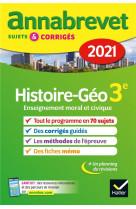 Annales du brevet annabrevet 2021 histoire-geographie emc 3e - sujets, corriges & conseils de method